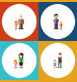 flat icon family set of son mother grandpa vector image