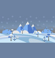 winter snowy landscape with hills trees and vector image