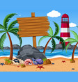 wooden sign on the beach with starfish and hermit vector image