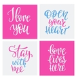 Romantic love lettering typography set vector image
