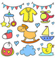 collection of baby colorful various object doodles vector image