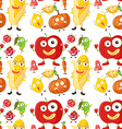 Seamless background with fruits and veggies vector image