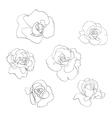 Flower line art set vector image