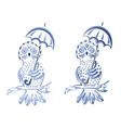 Blue Ornamental Owl vector image