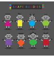 cute basic shape body buddies characters icons set vector image