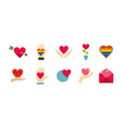 heart icon set flat style vector image