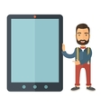 Man with big screen tablet vector image
