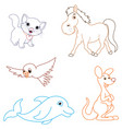 of a cartoon animals vector image