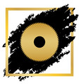 saw sign golden icon at black spot inside vector image