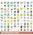100 experience icons set flat style vector image