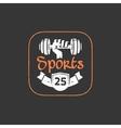 Gym workout logo emblem isolated on dark vector image