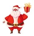African american flat santa holding christmas gift vector image