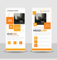 orange square business roll up banner flat design vector image