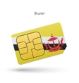 Brunei mobile phone sim card with flag vector image vector image