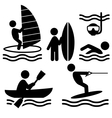 Summer water sport pictograms flat people icons vector image