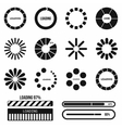 Progress bar and loading icons set in simple style vector image vector image