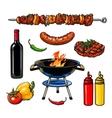 sketch kebab meat sausage steak with sauce vector image