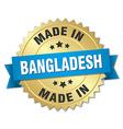 made in Bangladesh gold badge with blue ribbon vector image