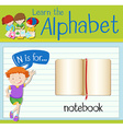 Flashcard letter N is for notebook vector image