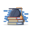 graduation cap on stack of books vector image