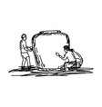people making big earthen jar for keeping water - vector image
