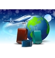 planet earth blue background around the fly vector image