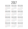 pocket 2017 year calendar vector image