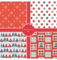 Christmas modern pattern set New Year holiday vector image