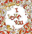 Red and gold love poster template with hand-drawn vector image