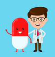 cute funny smiling doctor and happy pill vector image