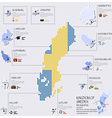 Dot And Flag Map Of Sweden Infographic Design vector image