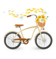 modern bicycle with cart full of flowers and vector image