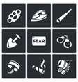 Set of Slavery Icons Beatings Torture vector image