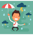Stressed businessman with black cloud rain vector image
