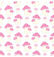 seamless pattern with pink and polka dot amanita vector image