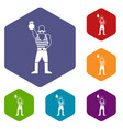 strong man with kettlebell icons set vector image