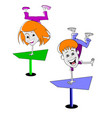 two cartoon children vector image vector image