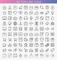 100 thin line icons vector image