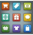 Flat icon set White Symbols Shop vector image