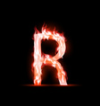 letter with red fire vector image