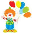 Circus clown with balloons vector image