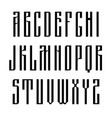 narrow sans serif font based on old slavic vector image
