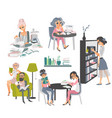 set of people reading books in library vector image