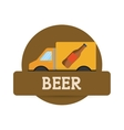 Truck beer transport delivery label vector image