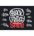 Black Friday lettering with percentage numbers vector image