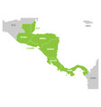 map of central america region with green vector image