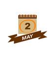 2 may calendar with ribbon vector image