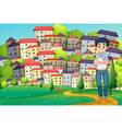 A serious man standing at the hilltop across the vector image vector image