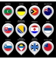 Map marker with flag-set twelfth vector image