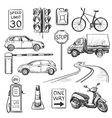 Traffic hand drawn icons set vector image